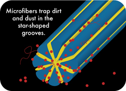Microfiber traps dirt in the star sghaped grooves